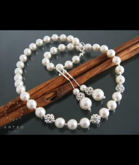 Komplet ślubny SWAROVSKI białe perły 1322