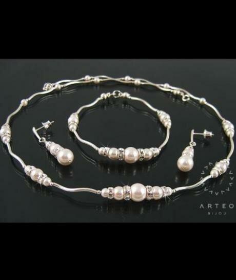 Komplet Swarovski białe perłi i cyrkonie 1633