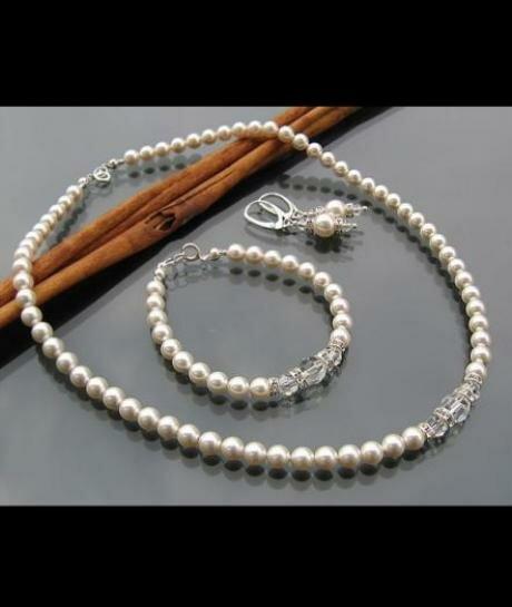 Komplet ślubny Swarovski Perły i Kryształy 603