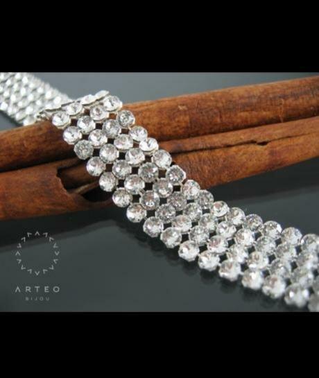 Bransoleta ślubna SWAROVSKI crystal MESH cyrkonie 1284