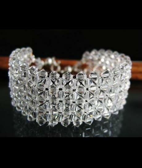 Bransoletka ślubna Swarovski Crystal (szeroka) 291