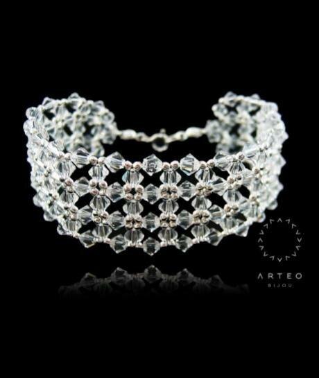 Biżuteria ślubna - bransoleta Swarovski Crystal (szeroka) 172
