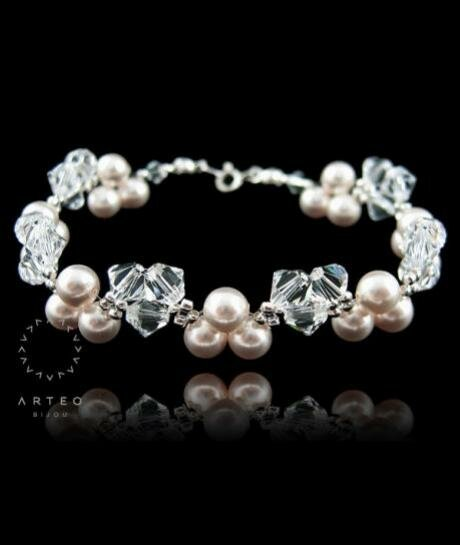bransoletka ślubna Swarovski perłowo - kryształowa 802