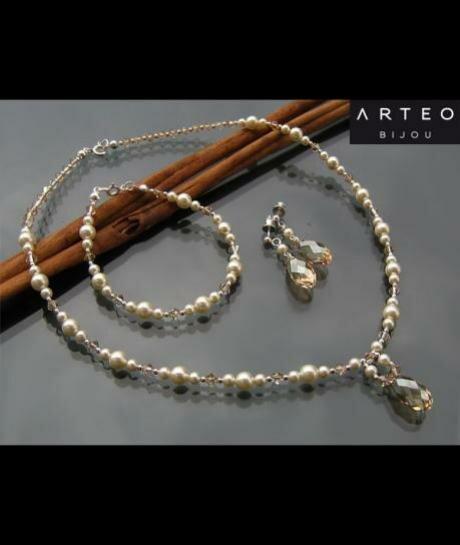 Komplet ślubny Swarovski Kryształy i Perły Ecru 625