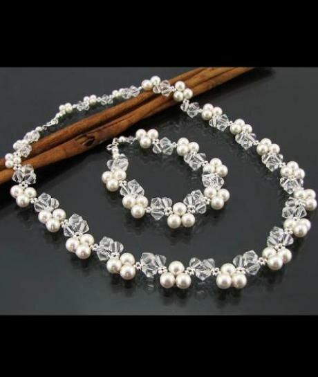 komplet biżuterii ślubnej Swarovski kryształowo - perłowy 845