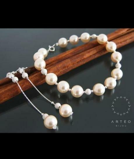 Komplet ślubny SWAROVSKI perły kremowe 1317