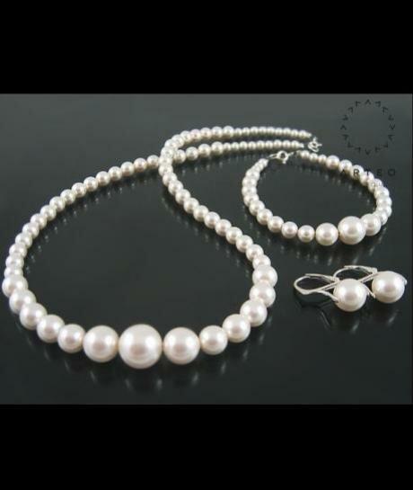 Komplet ślubna SWAROVSKI białe perły PUDEŁKO 1180