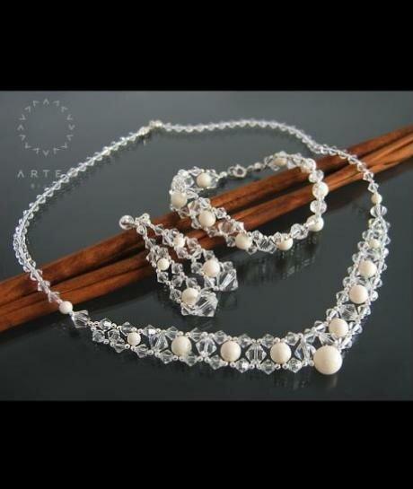 Komplet ślubny Swarovski Perły i Kryształy 563