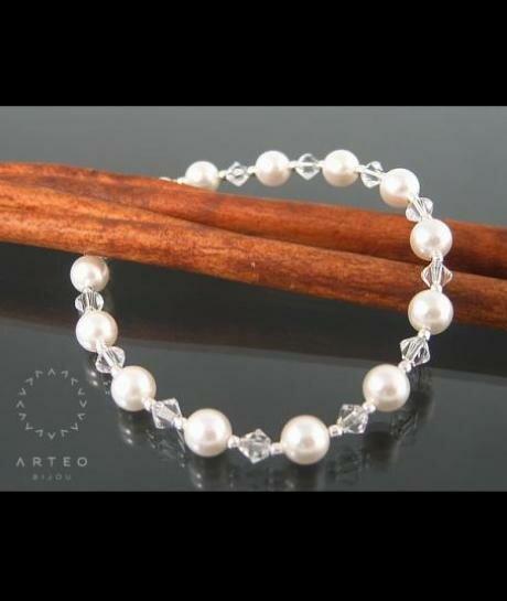 Bransoletka ślubna Swarovski (perły i kryształy) 116