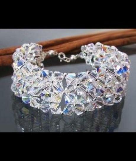 Bransoleta ślubna SWAROVSKI szeroka crystal AB 857